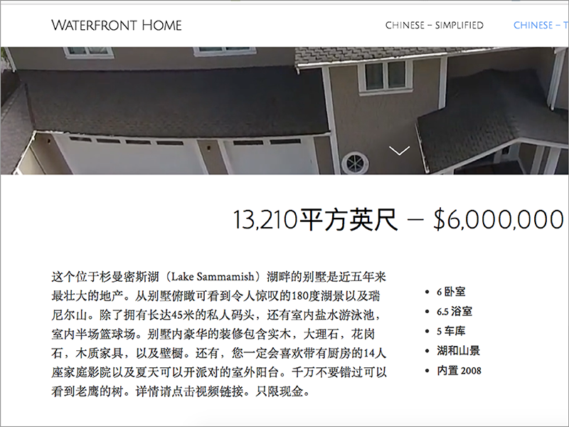 Screenshot showing example of website translation